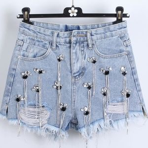 Blinged Out Demin Shorts